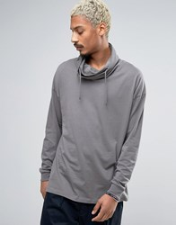 Asos Oversized Long Sleeve T Shirt With Double Funnel Neck Grey