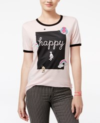 Trolls By Dreamworks Juniors' Happy Graphic T Shirt Soft Pink Vintage Black