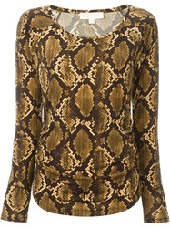 Michael Michael Kors Snake Skin Print Long Sleeve T Shirt Brown
