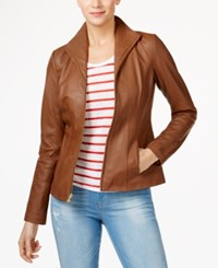Cole Haan Stand Collar Leather Jacket Hazel