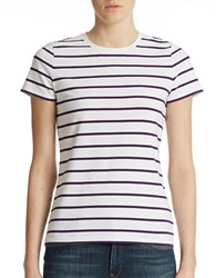 Lord And Taylor Petite Striped Crew Neck Tee Acai
