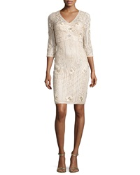 Sue Wong 3 4 Sleeve Embroidered Sheath Dress