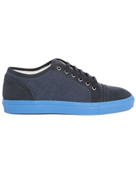 Armani Collezioni Dual Fabric Sneakers With Contrasting Blue Sole