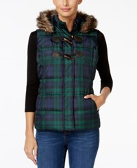 Charter Club Faux Fur Trim Plaid Puffer Vest Only At Macy's Deep Black Combo