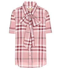 Burberry Checked Cotton Shirt Red