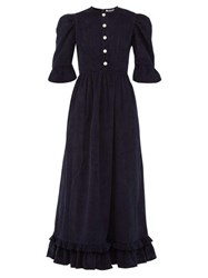 Batsheva Puff Sleeve Cotton Corduroy Dress Navy
