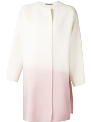 Dusan Two Tone Collarless Coat White