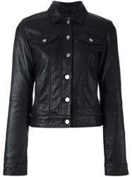 Calvin Klein Jeans Buttoned Leather Jacket Black