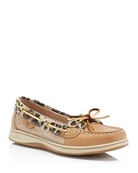 Sperry Angelfish Leopard Mesh Boat Shoes White