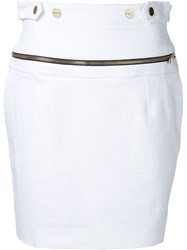 Alexandre Vauthier Zipped Waist Mini Skirt White
