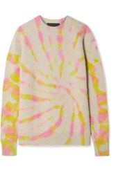 The Elder Statesman Tie Dye Cashmere Sweater Beige