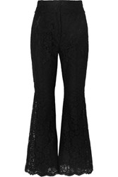 Dolce And Gabbana Cropped Guipure Lace Flared Pants Black
