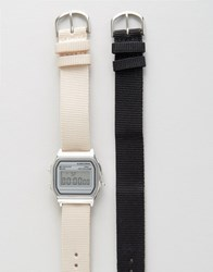 Asos Pack Of 2 Interchangeable Neutral Straps Digital Watch Set Black