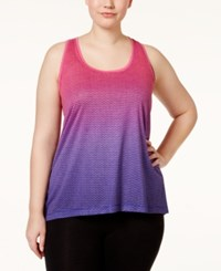 Ideology Plus Size T Back Dip Dyed Burnout Tank Top Only At Macy's Molten Pink