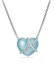 David Yurman Le Petit Coeur Sculpted Heart Chain Necklace With Milky Aquamarine And Diamonds