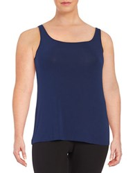 Lord And Taylor Plus Iconic Slimming Tank Navy Night