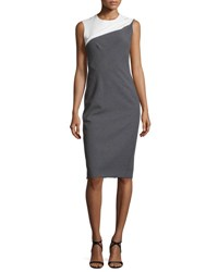 Narciso Rodriguez Sleeveless Bicolor Sheath Dress Black White Gray White