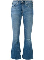 Rag And Bone Jean Flared Cropped Jeans Women Cotton Polyurethane 28 Blue