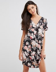 Traffic People Stitch Dress In Floral Print Black Ditsy Floral