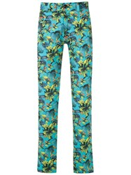 Amir Slama Straight Fit Printed Trousers Blue
