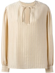 Alessandra Rich Pinstripe Blouse Nude And Neutrals