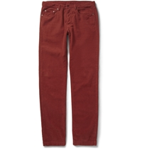 Massimo Alba Regular Fit Garment Dyed Corduroy Trousers Red