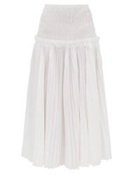 Khaite Rosa Pleated Cotton Poplin Midi Skirt White