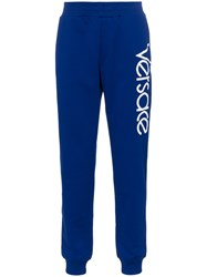 Versace Logo Print Sweatpants Blue