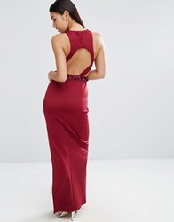 Asos Embellished Scuba Cutout Maxi Dress Oxblood Red