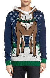 The Rail Men's Reindeer Intarsia Hooded Sweater