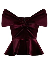 Emilio De La Morena Sassa Off The Shoulder Velvet Top Burgundy