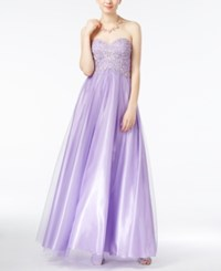 Jump Juniors' Strapless Embellished Gown Lilac