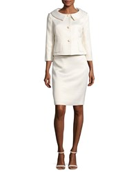 Albert Nipon Jacquard Polka Dot Jacket W Pencil Skirt Cream Pale Gold