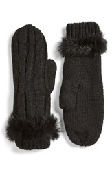 Women's Love Token Cable Knit Mittens With Genuine Rabbit Fur Trim Black