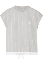 Adidas Originals Ripstop Trimmed Striped Stretch Jersey Top Gray