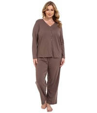 Jockey Plus Size Two Piece Cotton Cardigan Pj Set Truffle Women's Pajama Sets Brown