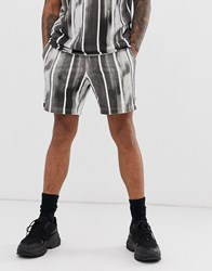 Religion Co Ord Shorts With Brushed Stripe Print In Black