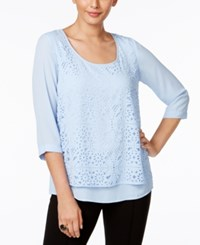 Ny Collection Eyelet Overlay Top Chambray