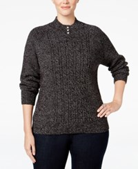 Karen Scott Plus Size Cable Knit Mock Neck Sweater Only At Macy's Black White Marl
