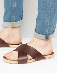 Asos Cross Over Sandals In Tan Leather With Jute Espadrille Sole Brown
