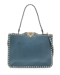 Valentino Rockstud Flat Leather Satchel Bag Light Blue