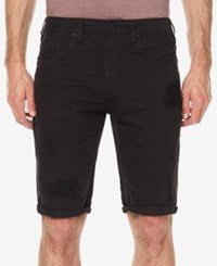 Buffalo David Bitton Men's Parker Slim Fit Destroyed Denim Shorts Whiskered And Repaired