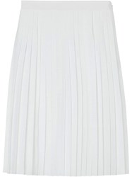 Burberry Silk Lined Pleated Skirt White