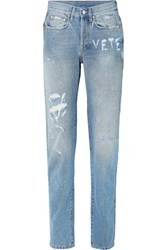 Vetements Distressed High Rise Straight Leg Jeans Blue