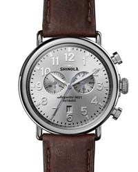 Shinola Runwell Leather Watch Brown Silver Brown Silver