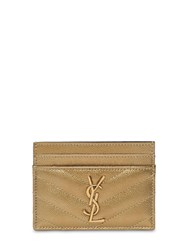 Saint Laurent Quilted Metallic Leather Card Holder Gold