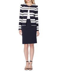 Tahari By Arthur S. Levine Two Piece Striped Jacket And Skirt Suit Navy White