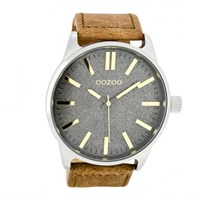 Oozoo Anthracite Watch In Tan And Copper 48Mm