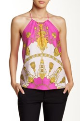 Julie Brown Silk Print Halter Pink