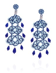 Anna E Alex Blue Passementerie Chandelier Earrings